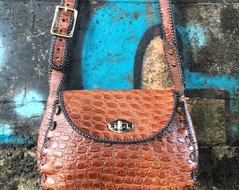 Faux crocodile vintage cross body bag