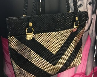 Black and Gold Chevron Purse