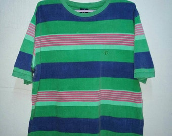 Rare!! Hang Ten Small Logo Embroidery Striped T-shirt