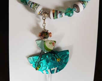 Aluminum Can Dancing Lady Necklace, Recycled, Upcycled, Eco-friendly, Paper Bead Necklace, Trash to Treasure, One of a Kind Gift