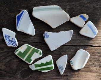Sea pottery shards Patterned sea pottery fragments Tide tumbled porcelain pcs Sea Beach Ceramics Genuine Sea pottery pieces of sea porcelain