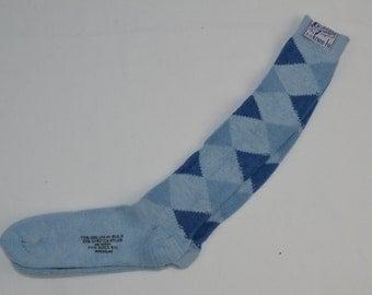 Vintage 1970's ARGYLE Knee-Hi Socks Size 9-11 ORLON Blue - NEW Old Stock