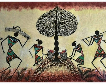 The Warli Tree - Original Warli Art painting (Series 3 #5) by our shop's own Artisan, 'Tree of Life' Acrylic on Canvas ideal Christmas