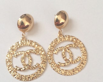 Designer Inspired CC Gold Stud Drop Earrings - Free UK Delivery