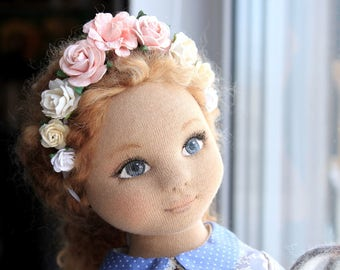 Art Fabric Doll Amelia, Fabric Doll, OOAK, Handmade, Art Doll