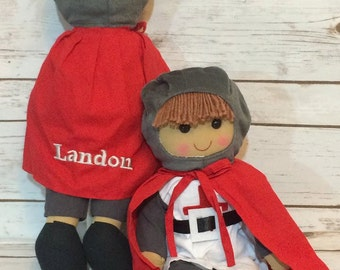 Personalised Knight Rag Doll, Personalised gift for boys, Personalized Knight Rag Doll