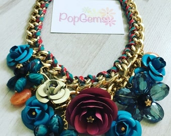 Chunky chain flower fashion metal statement necklace