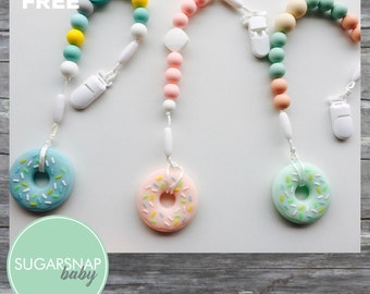 Silicone Donut Teether - chew beads - silicone beads - bite toy - baby and toddler - pacifier clip - teething