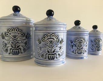 Vintage Porcelain Canister Set of 4- Made In Japan- Dark Blue Embossed Floral Design on Light Blue Canister