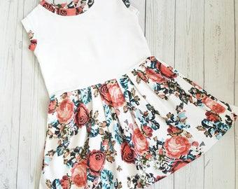 Girls flower dress, ruffle dress, girls summer dress, toddler dress, cotton dress, girls party dress, toddler flared dress, girls gift