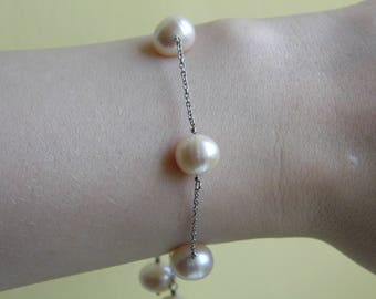 Freshwater White Pearl Station Bracelet Sterling Silver. Slider Clasp. Fits Any Wrist Jewellery Gifts Birthday Present