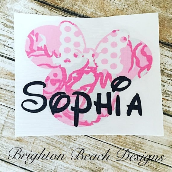 Minnie Mouse Decal/Personalized Minnie Decal/Minnie Decal/Yeti Decal/Lilly Pulitzer Inspired/Monogram Decal/RTIC Decal/SIC Cup Decal