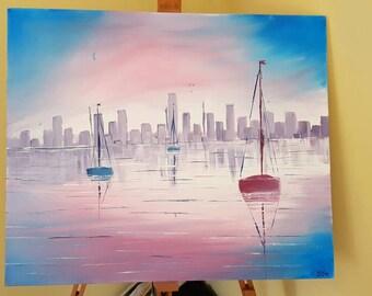 "24""x20"" boats at sunset"