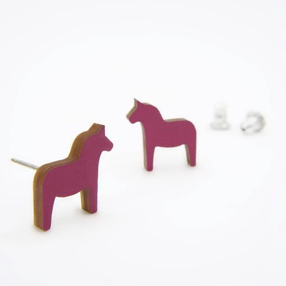 Modern Violet Swedish Horse / Dala Earrings