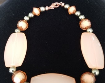 Peach and Gray Beaded Bracelet