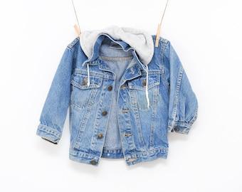 childrens vintage jean jacket | denim jacket boys girls | 90s hooded denim coat | 90s grunge kids size large