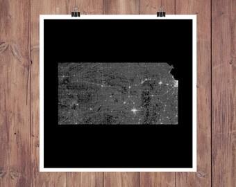 Kansas Roads High Resolution Digital Print / Map of Kansas / Kansas Print / Kansas Wall Art / Kansas Poster / Kansas Map Art / Kansas Decor