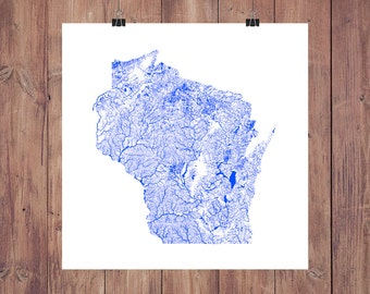 Wisconsin Map - High Res Map of Wisconsin Rivers / Wisconsin Print / Wisconsin Art / Wisconsin Gift / Wisconsin Wall Decor / Milwaukee Map