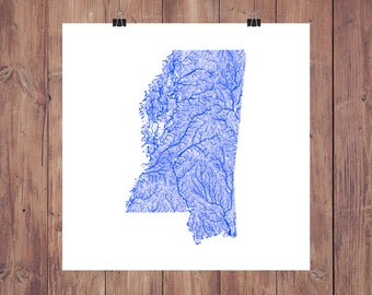 Mississippi Map - High Res Digital Map of Mississippi Rivers / Mississippi Print / Mississippi Art / Mississippi Poster / Mississippi Gift