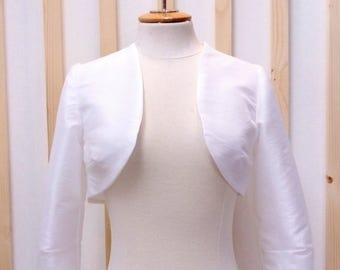 Bolero taffeta, white bolero, white taffeta bolero, bridal jacket, taffeta jacket, wedding jacket, white taffeta jacket