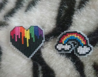Rainbow Cross Stitch Badges
