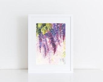 Wisteria Original Watercolor Painting, Pink Flowers, Watercolor Wisteria, Floral Decor, original watercolor Flowers painting,abstract floral