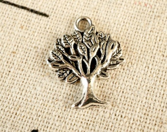 Tree silver 10 charms vintage style jewellery supplies C247