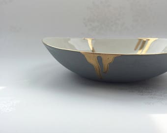 Grey & White Porcelain Bowl with a Gold Rim and Thick Gold Drips. Ceramic Art. FebbieDay Ceramics.