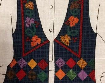 Fabric panel vest -Gorgeous Harvest Vest fabric panel XS-L