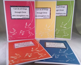 "Set of 5 ""I Can Do All Things Through Christ"" CLASSIC Sympathy Cards"