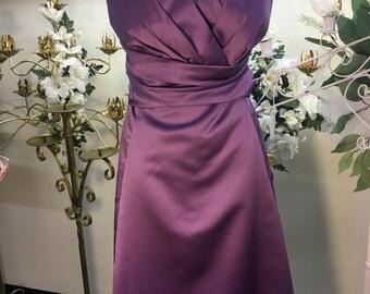 Bridesmaid dress, wisteria dress, satin bridesmaid dress, short bridesmaid dress, formal dress, prom dress, party dress, purple dress