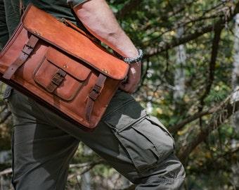 Rustic Leather Messenger Travel bag - 1920's Vintage inspired Handmade bag/CarryOn/Briefcase/Hiking/Work/Adventure/Christmas