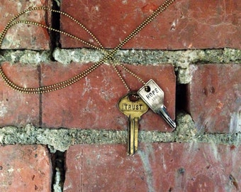 Key of Purpose Mix-N-Match Duo / Vintage Brass & Distressed Silver Double Key Necklace