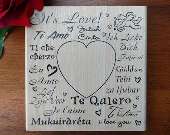 It's Love Rubber Stamper by Rubber Stampede, Heart, Valentine, Love Languages, Te Quiero, Ti Amo, Wood Mounted