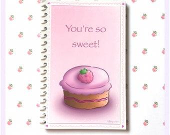 Cute notebook / cake notebook / small notebook / kawaii notebook / pink notebook