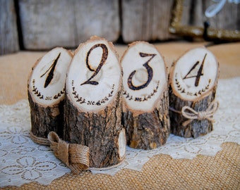 Rustic Wedding Table Numbers Engraved Wooden Log Table Numbers Boho Woodland Wedding Decoration Burned Wood Table Numbers Bohemian Wedding
