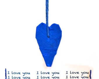 Blue Heart Pendant Love Card