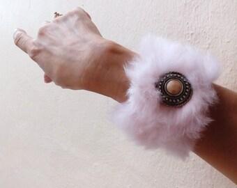 Handmade Baby Pink Rabbit Cuff Bracelet with Bead Embellishment - Valentines Gift