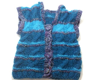"Knitted Baby Vest: ""BLUE VEST"" Hand Knitted Baby Vest , Child Vest , Crochet Baby Vest, Sleeveless Sweater, Toddler Vest Baby Hobo Vest A118"