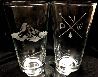 Pacific Northwest Etched Pint Glasses set of four