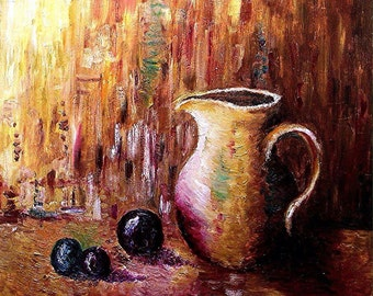 Original oil painting, Still life with Jug and Plums, 2013