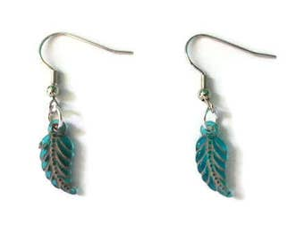 Feather Beaded Earrings - Teal Feather Earrings - Dangle and Drop Earrings - Small Feather Bead Earrings