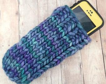 Phone Sleeve, Knit Phone Sleeve, Knit Mermaid Phone Case, Cell Phone Sock, Knit Phone Sock, Cell Phone Cover, Blue Crochet Phone Sleeve