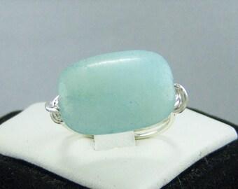R195, Aqua Stone Wire Wrapped Ring