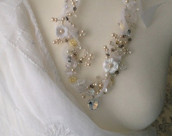 SNOW QUEEN ROMANTIC Bead Crystal and Wire Vintage Wedding Necklace Unique freeform