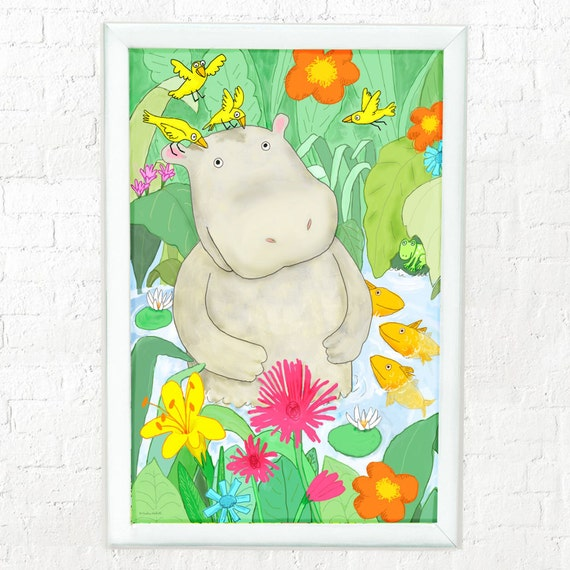 Hippo in water with friends, nursery decor, art for kids room, childrens decor, kids room art, kids wall art, hippo art for kids,  hippo art