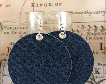ON SALE ! Upcycled Jean Fabric Earrings