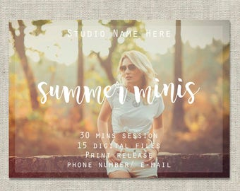 Summer Minis Photoshop Template, Summer Mini Session Template, Marketing Board, PSD Templte, Digital, Photography Template