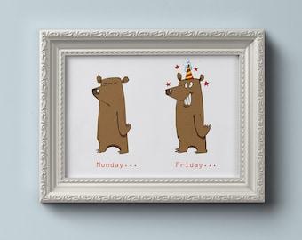 INSTANT DOWNLOAD - 'Bear the Week' Digital Art