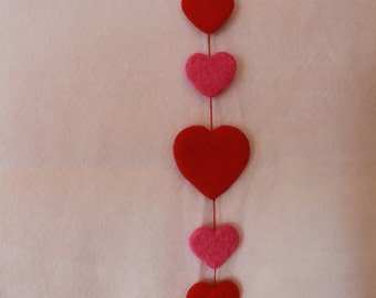 Handcrafted Needle Felted Wool Valentine's-Hearts on a String